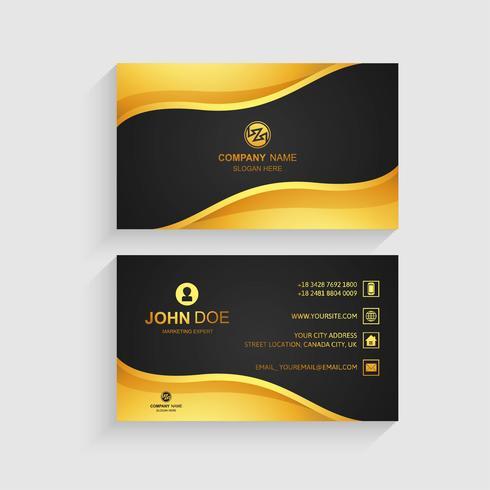 Business card set template creative golden wave design vector