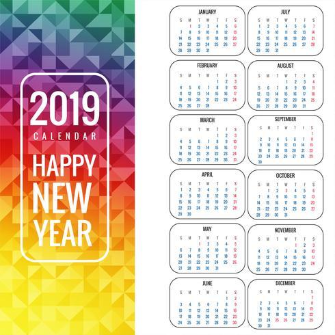 Calendar for 2019  background vector