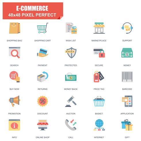 Conjunto simple de E-commerce relacionados con iconos planos vectoriales