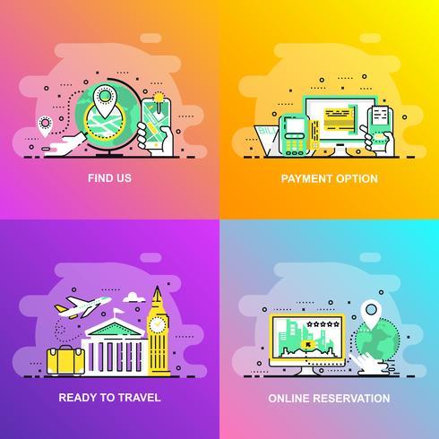 Modern slät gradient platt linje koncept webb banner av Hitta oss, online bokning, betalningsalternativ och redo att resa