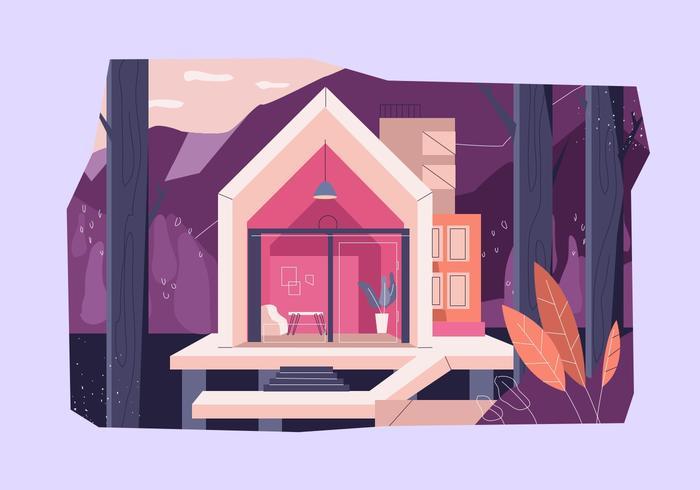 Cabina moderna en la madera Vector ilustración plana