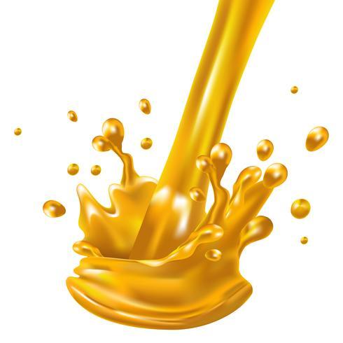 Salpicar y girar el líquido de jugo de naranja para usos de diseño aislado sobre fondo blanco
