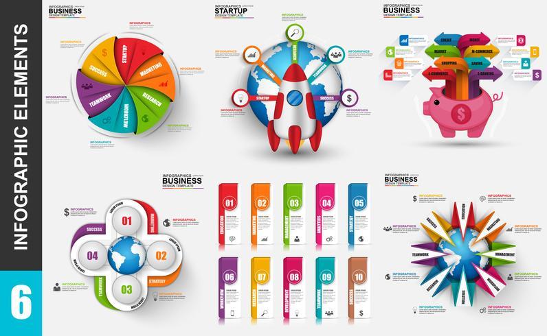 Conjunto de presentación de negocios 3d infografía vector diseño plantilla.