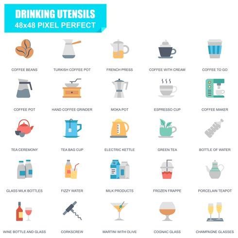 Simple Set of Drinking Utensils Related Vector Flat Icons