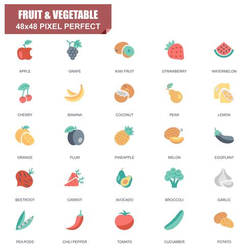 Simple Set of Fruit and Vegetable Related Vector Flat Icons