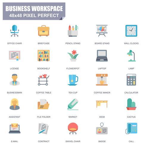 Insieme semplice di icone piane di vettore relative dell'area di lavoro aziendale