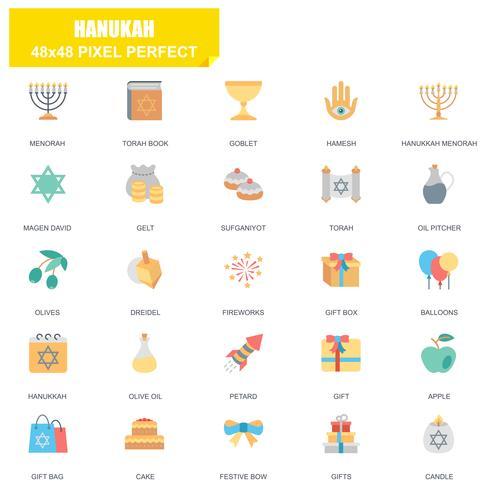 Ensemble simple de Hanouka icônes vectorielles associés