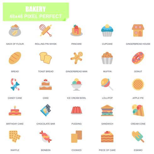 Eenvoudige set van bakkerij gerelateerde Vector plat pictogrammen