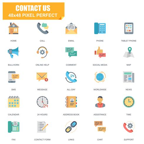 Simple Set of Contact Us Related Vector Flat Icons