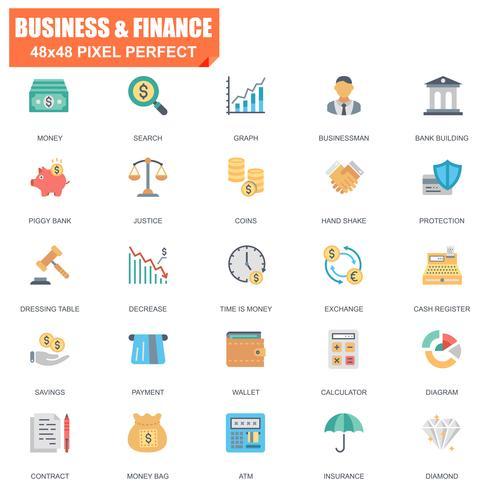 Conjunto simples de ícones plana de vetor relacionados de finanças