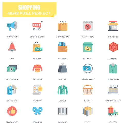 Simple Set of Shopping Related Vector Flat Icons