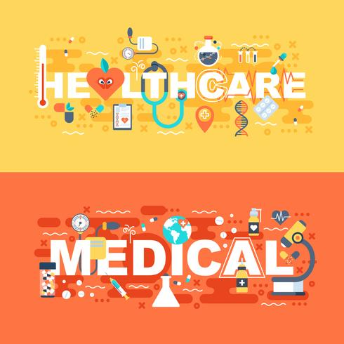 Conjunto médico y sanitario de concepto plano. vector