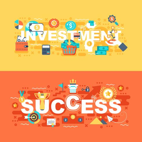 Investment and success set of flat concept vector