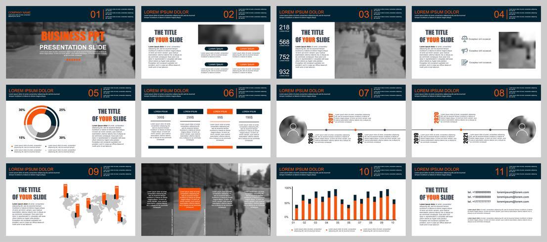 Affärspraxis PowerPoint slider mallar från infografiska element.