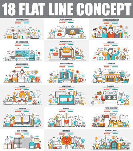 Modern set of flat line concept web banners