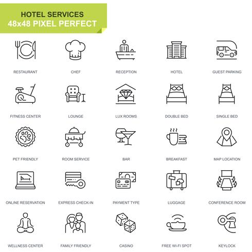 Conjunto de iconos de línea de servicio de hotel simple para sitio web y aplicaciones móviles