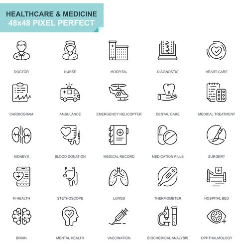 Einfache Set Healthcare und Medical Line Icons für Website und Mobile Apps