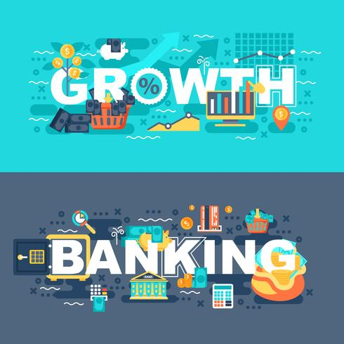 Banking and growth set of flat concept vector