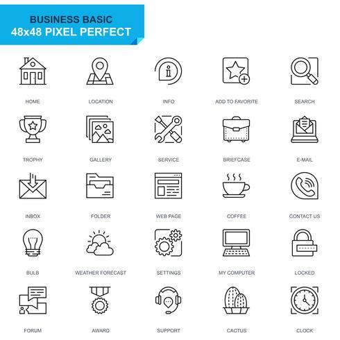 Set semplice Icone di linea di base per applicazioni Web e mobili