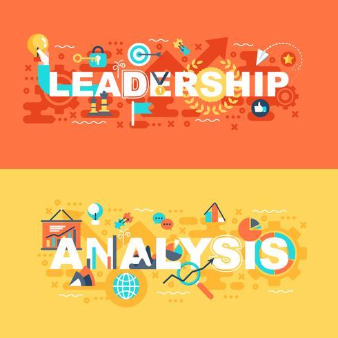 Ledarskap och analys uppsättning av platt koncept