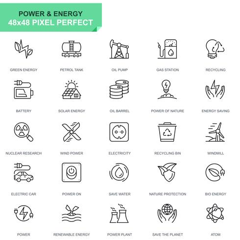 Simple Set Power Industry and Energy Line Icons for Website and Mobile Apps vector