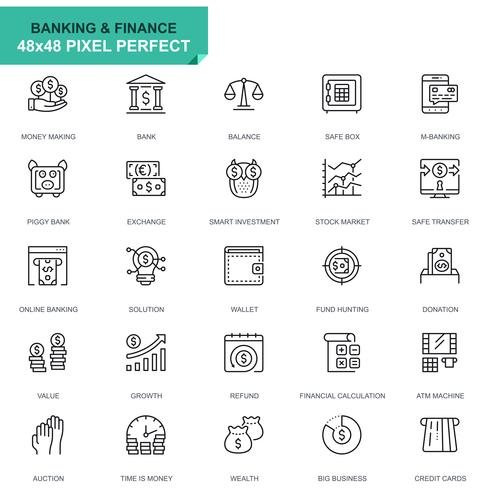 Simple Set Banking and Finance Line Icons for Website and Mobile Apps