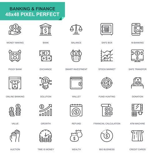 Conjunto simple de iconos de líneas bancarias y financieras para aplicaciones web y móviles