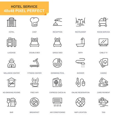 Icone di linea di servizi Hotel Set semplice per applicazioni Web e mobili