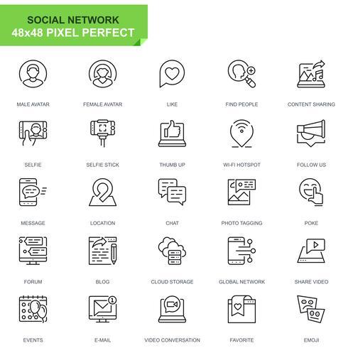 Enkel uppsättning sociala medier och nätverkslinjeikoner för webb- och mobilapps