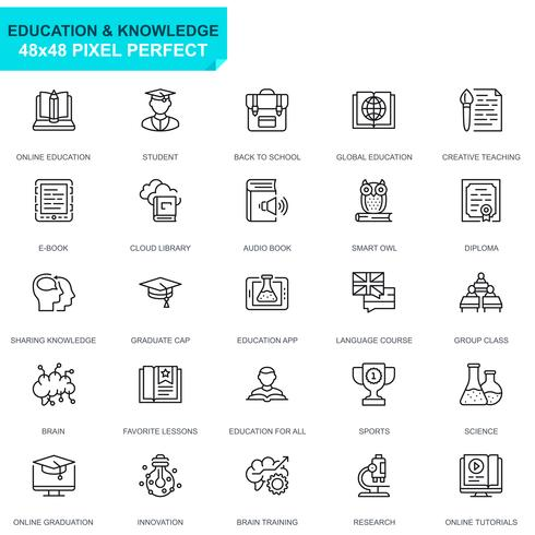 Conjunto simple de iconos de líneas de educación y conocimiento para sitios web y aplicaciones móviles
