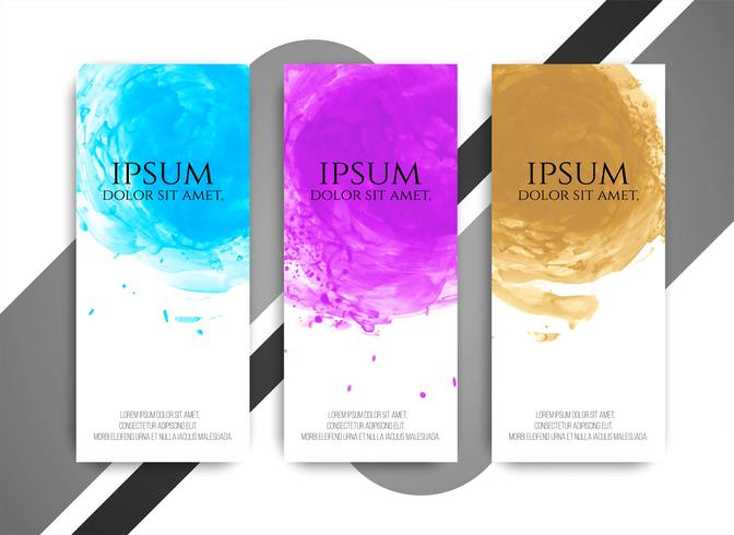 Abstract modern colorful watercolor banners set vector