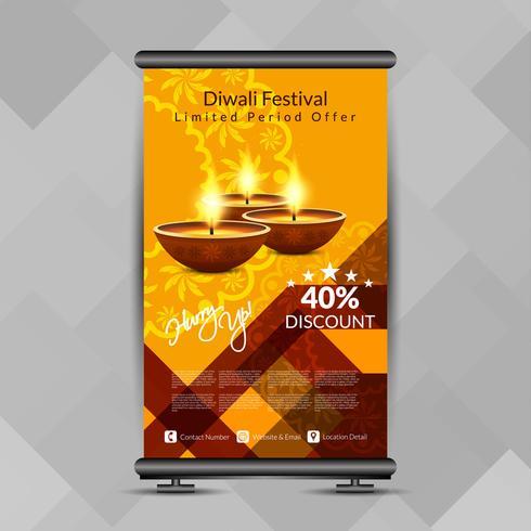 Astratto felice Diwali elegante rotoli sul modello di progettazione dell'insegna