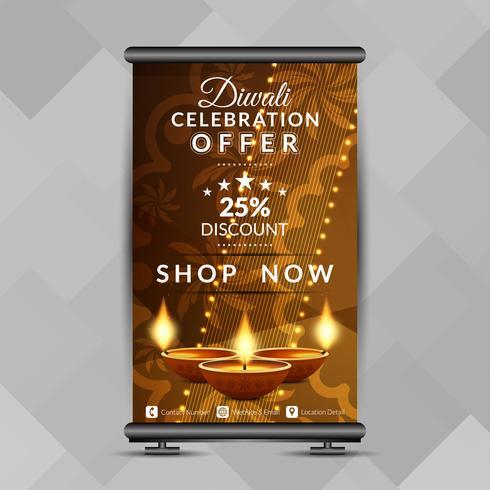 Resumen feliz Diwali elegante roll up banner plantilla de diseño vector