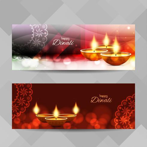 Conjunto de bandeiras de feliz Diwali feliz