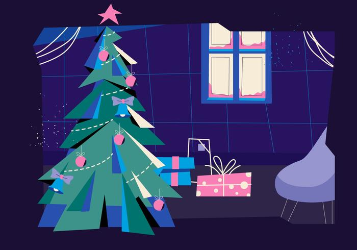 Christmas Tree Silhouette In Livingroom Vector Flat Illustration
