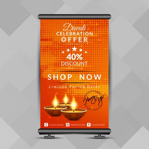 Resumen feliz Diwali roll up banner plantilla de diseño vector