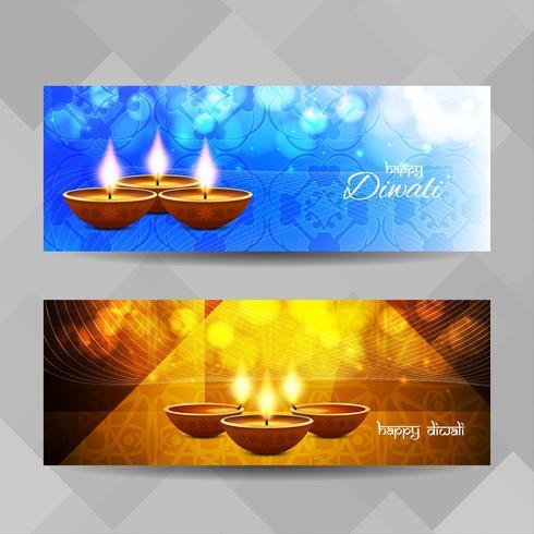Conjunto de banners abstractos feliz Diwali