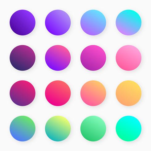 Vettore di campioni di gradiente colorato alla moda