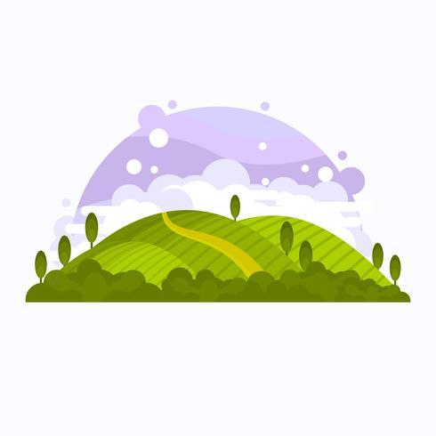 Vingård Scenery Vector Illustration