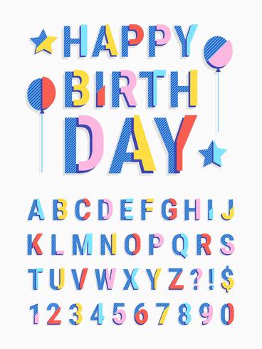 Skivad randig geometrisk typsnitt med text Grattis på födelsedagen