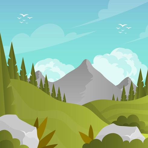 Flat Mountain Landscape First Person Vector Background Illustration