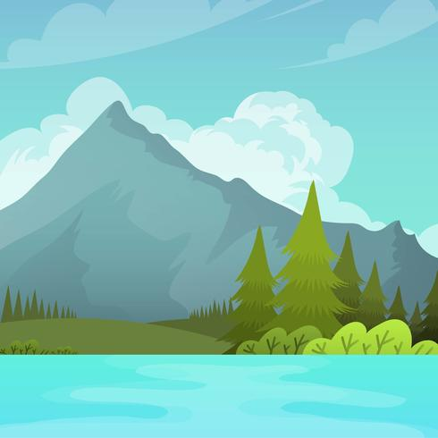 Flat Mountain Landscape with lake Vector Background Illustration