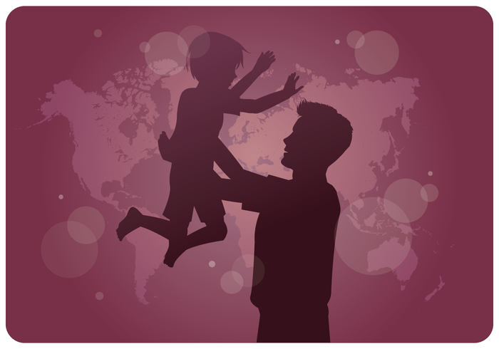 International Adoption Awareness Father Son vector