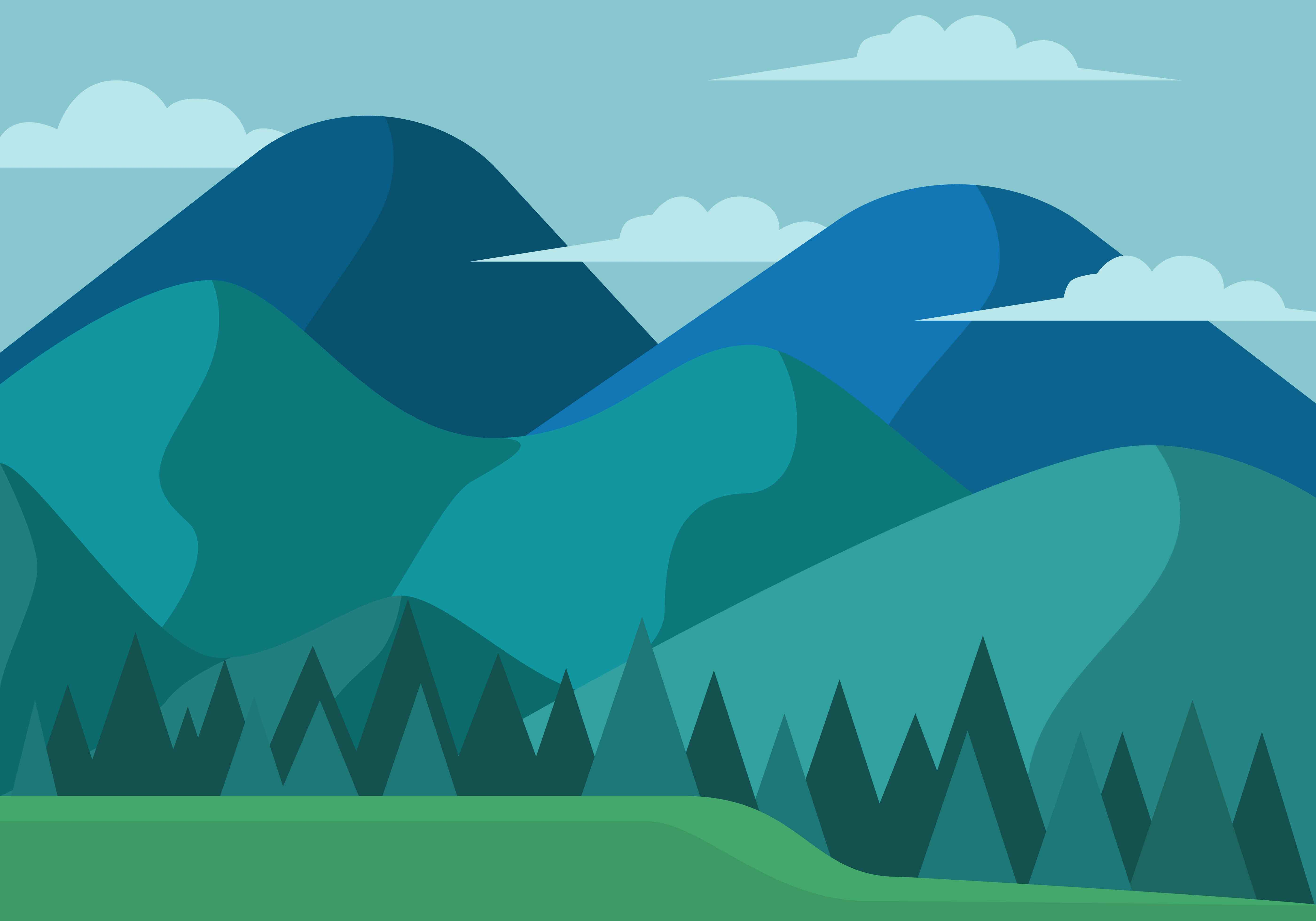 Landscape Illustration Vector Free: Mountain Landscape First Person Vector Illustration