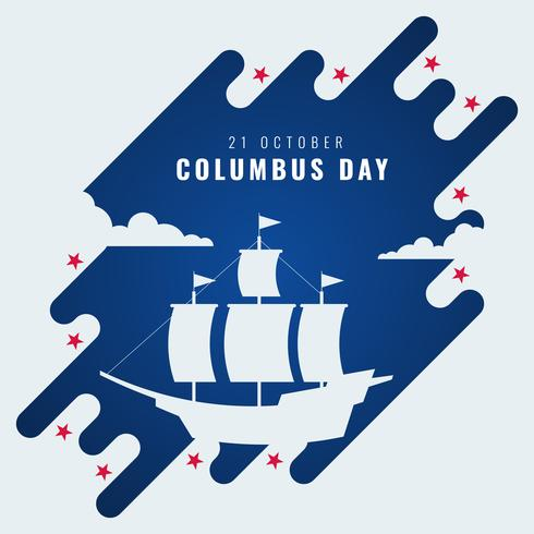Happy Columbus Day National USA Holiday Greeting Card Vector Illustration