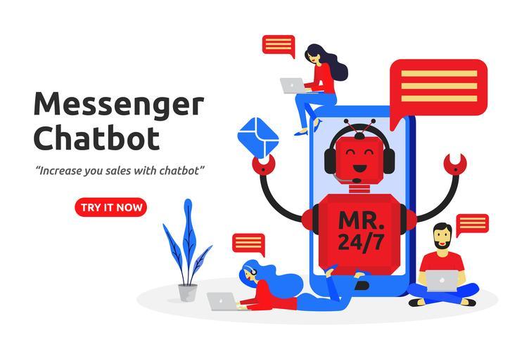 Messenger chatbot koncept modernt plattdesign. virtuell assistent