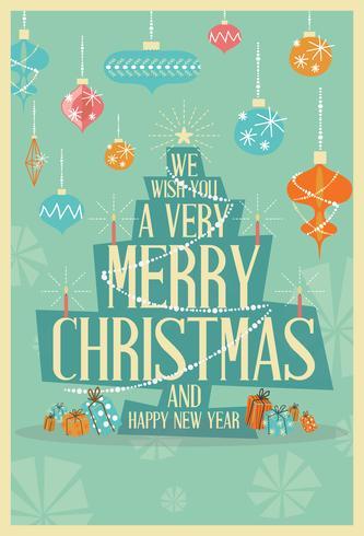 Abstract Merry Christmas Greeting Card Mid Century Mod Christmas