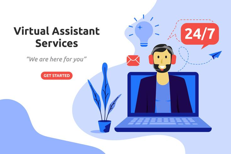 Progettazione piana moderna di concetto online di servizi di assistente virtuale online. ve vettore