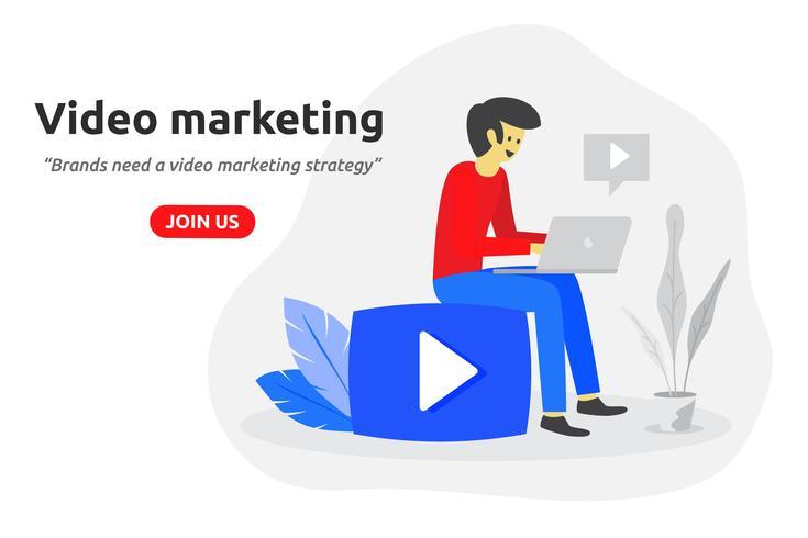 Modernes flaches Design des Social-Video-Marketing-Konzeptes. Video Blogger