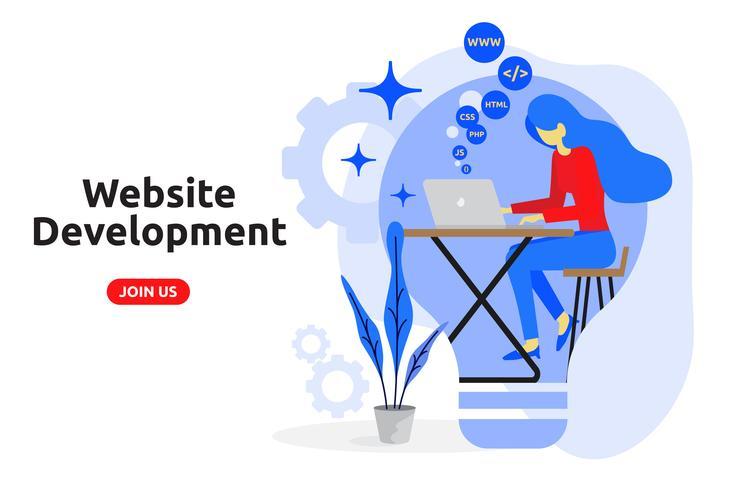 Modernes flaches Design des Websiteentwicklungskonzeptes. Vektorillustrat